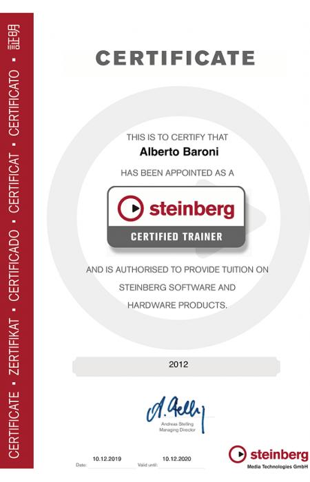 Certificato di abilitazione Steinberg